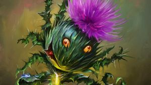 Preview wallpaper thistle, flower, art, funny, emotions