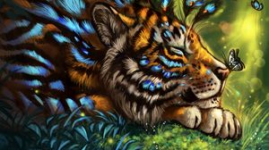 Preview wallpaper tiger, art, butterfly, muzzle, dream, fabulous