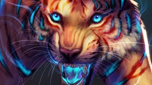 Preview wallpaper tiger, art, grin, glow, muzzle, predator