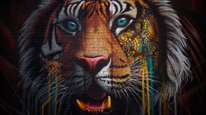 Preview wallpaper tiger, graffiti, street art, wall, colorful