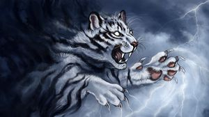 Preview wallpaper tiger, grin, art, predator, claws