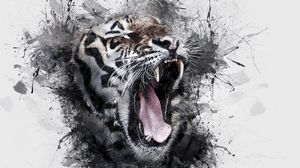 Preview wallpaper tiger, grin, art, watercolor