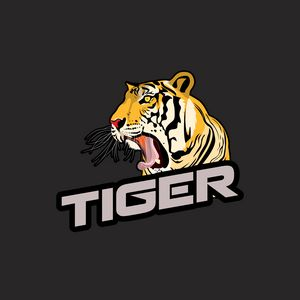 Preview wallpaper tiger, grin, inscription, vector