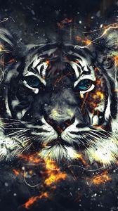 Preview wallpaper tiger, sparks, art, flash