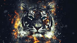 Preview wallpaper tiger, sparks, art, flash