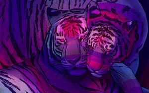 Preview wallpaper tigers, couple, predators, art, purple