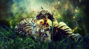 Preview wallpaper tigers, cubs, photoshop, wildlife