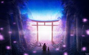 Preview wallpaper torii, art, solitude, night, warrior