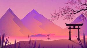 Preview wallpaper torii, gate, crane, sakura, mountains, art, purple