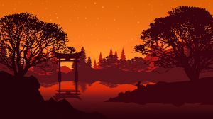 Preview wallpaper torii, landscape, lake, trees, art
