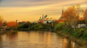 Preview wallpaper torzhok, tver region, evening, sunset, river, reflection, autumn, russia