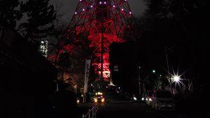 Preview wallpaper tower, backlight, night city, tokyo, japan, light