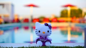Preview wallpaper toy, kitten, bow, cute
