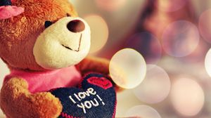 Preview wallpaper toy, soft, bear, heart, love, glare