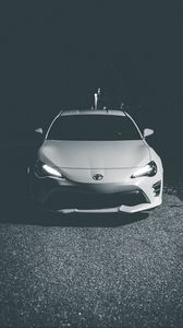 Preview wallpaper toyota, car, headlights, front view, bw