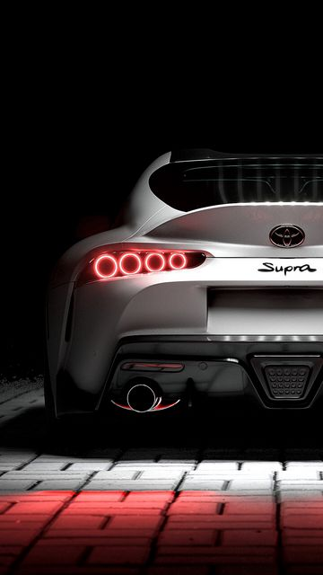 360x640 Wallpaper toyota supra, toyota, sportscar, white, rear view, backlight