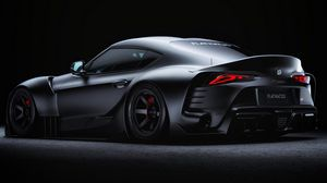 Preview wallpaper toyota supra, toyota, sportscar, gray, side view, night, dark