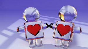 Preview wallpaper toys, couple, heart, glass, love