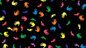 Preview wallpaper traces, multicolored, arms, hands, feet
