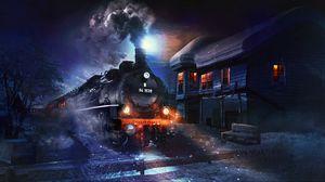 Preview wallpaper train, art, night, smoke