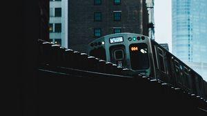 Preview wallpaper train, bridge, buildings, city