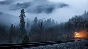 Preview wallpaper train, fog, railroad, light, trees