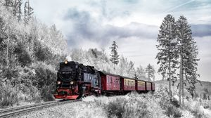 Preview wallpaper train, forest, winter, railway, snow