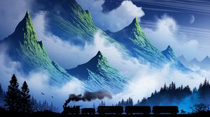 Preview wallpaper train, mountains, art, fog, smoke