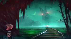 Preview wallpaper train, rabbit, illusion, night, art