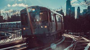 Preview wallpaper train, railroad, car, sunlight, movement