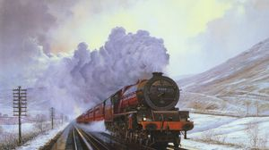 Preview wallpaper train, snow, winter, painting, canvas, smoke