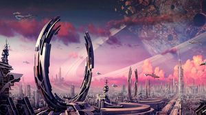 Preview wallpaper transport, city, rings, spaceships, planets, plants, crater, fantasy