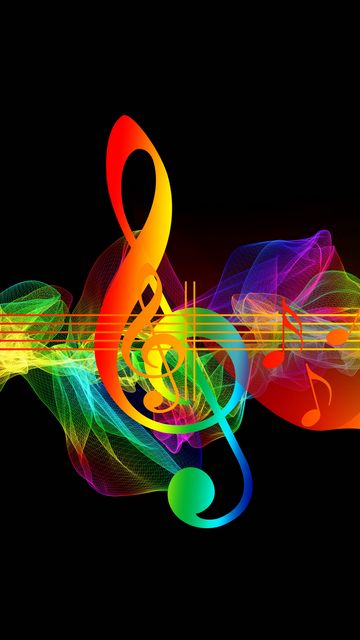360x640 Wallpaper treble clef, musical notes, multicolored, rainbow