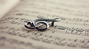 Preview wallpaper treble clef, notes, sheet, paper