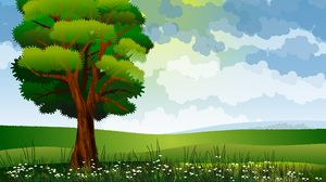 ... Preview Wallpaper Tree, Art, Field, Flowers, Summer