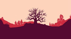 Preview wallpaper tree, vector, art, hill, landscape