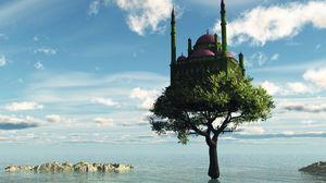Preview wallpaper tree, castle, sea, fantasy
