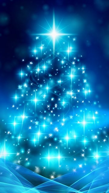 360x640 Wallpaper tree, christmas, new year, glitter, sparks
