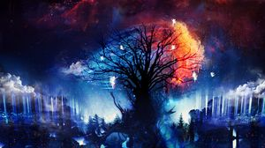 Preview wallpaper tree, fairies, art, silhouettes, night