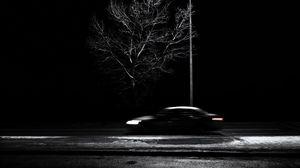 Preview wallpaper tree, lantern, car, speed, blur, bw