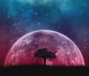 Preview wallpaper tree, planet, stars, galaxy, art