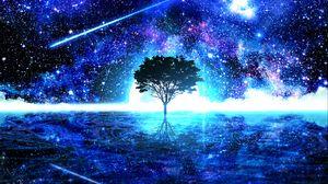 Preview wallpaper tree, shine, art, stars, bright