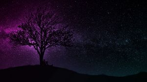Preview wallpaper tree, silhouette, starry sky, dark, art