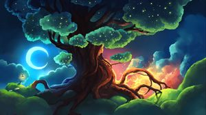 Preview wallpaper tree, stars, glow, night, art