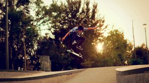 Preview wallpaper trees, skateboard, boy, skate, street