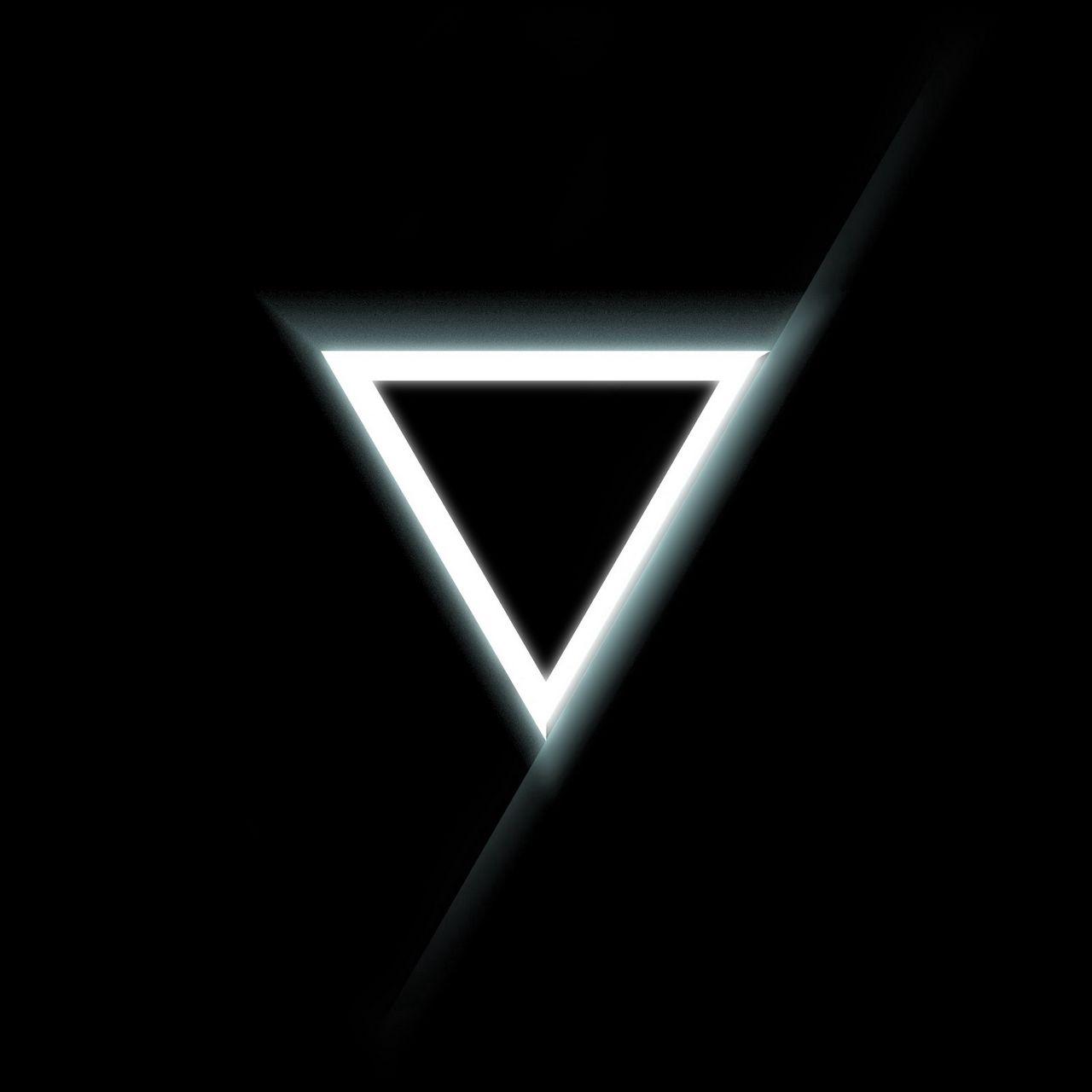 1280x1280 Wallpaper triangle, inverted, black, white