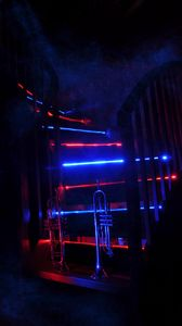 Preview wallpaper trumpet, music, stairway, neon, backlight, smoke