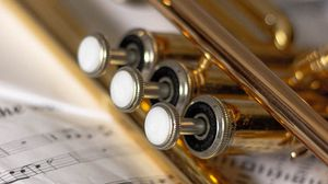 Preview wallpaper trumpet, sheet music, musical instrument, music