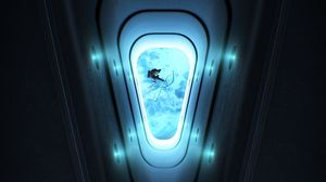 Preview wallpaper porthole, astronaut, open space, glow