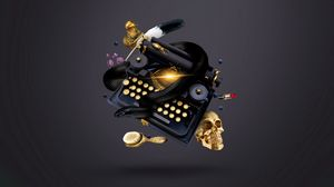 Preview wallpaper typewriter, skull, witch, snake, ink